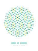 Green ikat diamonds frame circle decor patterns backgrounds — Stock Vector