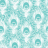 Soft peacock feathers vector seamless pattern background — ストックベクタ