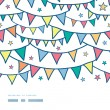 Colorful doodle bunting flags horizontal seamless pattern background — Векторная иллюстрация