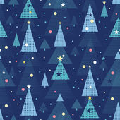 Abstract holiday Christmas trees seamless pattern background — Stock Vector