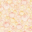Thanksgiving line art pumkins seamless pattern background — Stock Vector