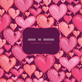 Red Valentine's Day Hearts Frame Seamless Pattern Background — ストックベクタ