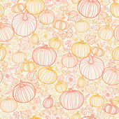 Thanksgiving line art pumkins seamless pattern background — ストックベクタ