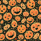 Halloween pumpkins seamless pattern background — Stock Vector
