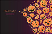 Halloween pumpkins corner decor background — Cтоковый вектор