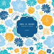 Blue and yellow flowersilhouettes frame seamless pattern background — Imagens vectoriais em stock