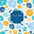 Blue and yellow flowersilhouettes frame seamless pattern background — Imagen vectorial