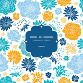 Blue and yellow flowersilhouettes frame seamless pattern background — Vector de stock