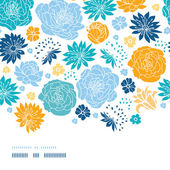 Blue and yellow flowersilhouettes horizontal decor seamless pattern background — Stock Vector