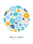 Blue and yellow flowersilhouettes circle decor pattern background — Stock Vector