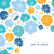 Blue and yellow flower silhouettes corner decor pattern background — Stock Vector #29567839