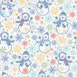 Cute snowmen seamless pattern background — Stock Vector