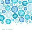 Round Snowflakes Horizontal Border Seamless Pattern Background — Stock Vector