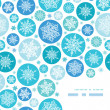 Round Snowflakes Corner Frame Pattern Background — Stock Vector