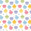 colorful cupcake party seamless pattern background — Stock Vector