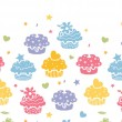 Colorful cupcake party horizontal seamless pattern background — Stock Vector