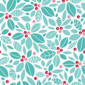 クリスマス ヒイラギの果実のシームレスなパターン背景 — ストックベクタ