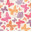 Floral butterflies seamless pattern background — Stock Vector