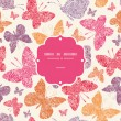 Floral butterflies frame seamless pattern background — Vector de stock
