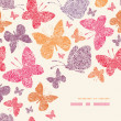 Floral butterflies corner decor pattern background — 图库矢量图片