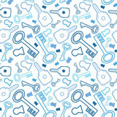 Keys line art seamless pattern background — Stock Vector