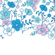 Blue and pink kimono blossoms horizontal seamless pattern background border — Stok Vektör