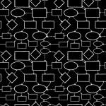 Blackboard tebeşir zihin haritası Dikişsiz desen arka plan — Stok Vektör