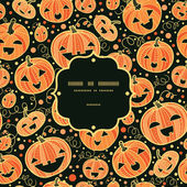 Halloween pumpkins frame seamless pattern background — Vector de stock
