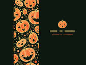 Halloween pumpkins horizontal frame seamless pattern background — Stock Vector