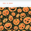 Halloween pumpkins horizontal torn frame seamless pattern background — Stock Vector