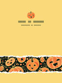 Halloween pumpkins vertical torn frame seamless pattern background — Stock Vector