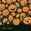 Halloween pumpkins horizontal border seamless pattern background — Stock Vector