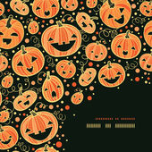 Halloween pumpkins corner decor pattern background — Stock Vector