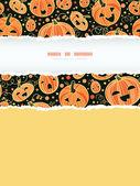 Halloween pumpkins vertical torn frame decor seamless pattern background — Stock Vector