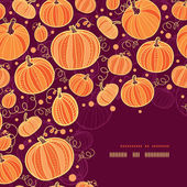 Thanksgiving pumpkins corner decor pattern background — Stok Vektör