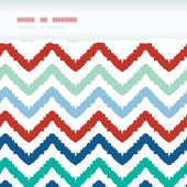 Colorful ikat chevron frame horizontal torn seamless pattern background — Stock Vector