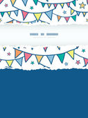 Colorful doodle bunting flags vertical torn frame seamless pattern background — Vetorial Stock