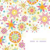 Colorful Christmas Stars Corner Decor Pattern Background — Stock Vector