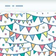 Colorful doodle bunting flags horizontal torn seamless pattern background — Stock Vector