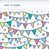 Colorful doodle bunting flags horizontal torn seamless pattern background — Vetorial Stock