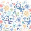 Cute snowmen horizontal seamless pattern background — Stockvektor