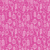 Holiday lanterns line art seamless pattern background — Stock Vector