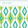 Emerald green ikat diamonds horizontal torn seamless patterns backgrounds — Stock Vector