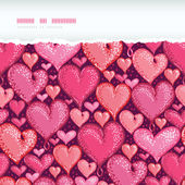 Red Valentine's Day Hearts Horizontal Torn Seamless Pattern Background — Stock Vector