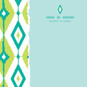 Emerald green ikat diamonds square torn seamless patterns backgrounds — Stock Vector