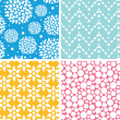 Four vibrant abstract geometric patterns and backgrounds — Stock Vector