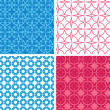 Four blue and red abstract geometric patterns and backgrounds — Stock Vector