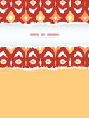 Red and gold ikat geometric vertical torn frame seamless pattern background — Stockvektor