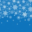 Falling Snowflakes Horizontal Border Seamless Pattern Background — Stockvektor