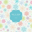 Colorful Doodle Snowflakes Frame Seamless Pattern Background — Stock vektor